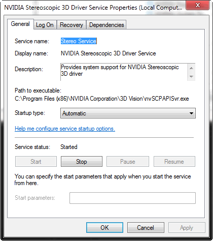 NVIDIA Stereoscopic 3D Driver Service