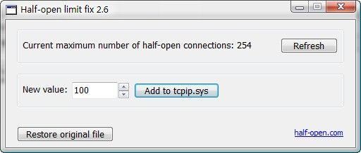 The half-open tcp connections limit is disabled in windows server